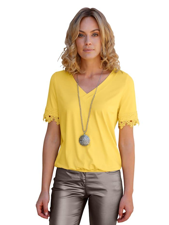 AMY VERMONT Shirt mit Spitze, Gelb