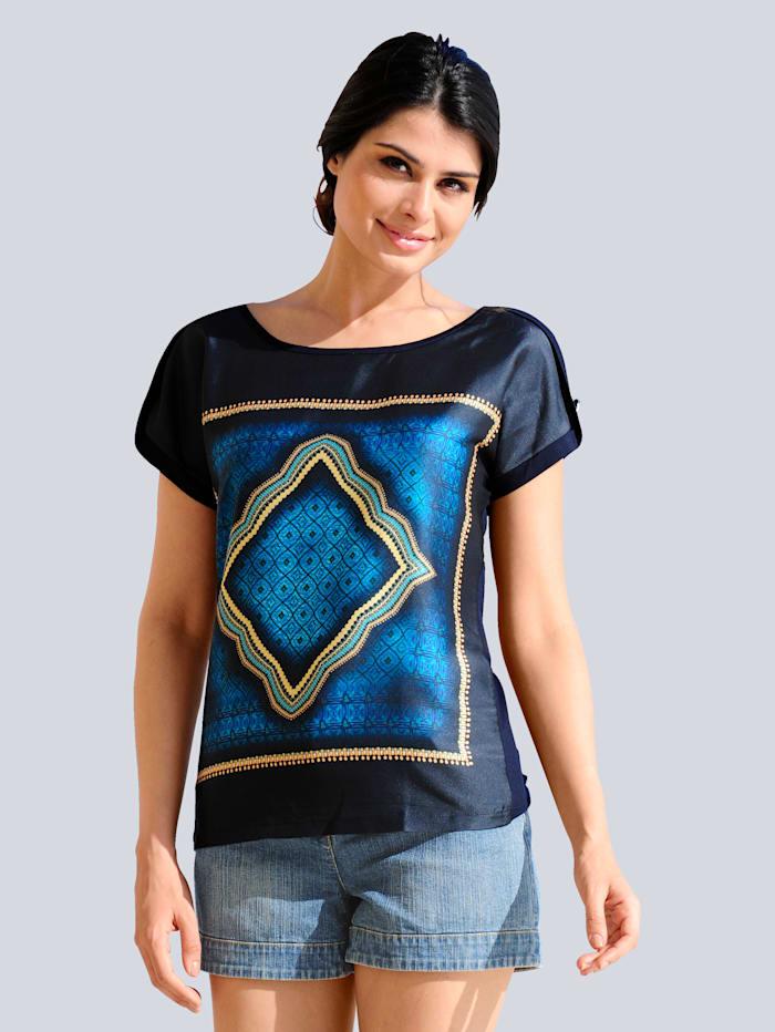 Alba Moda Shirt mit Satinvorderteil, Marineblau