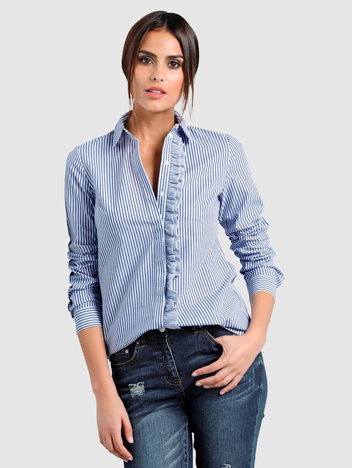 Alba Moda Bluse mit Rüschen, Marineblau/Weiß