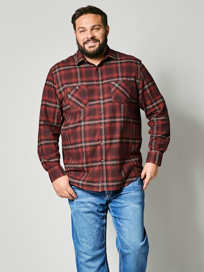 Men Plus Hemd aus reiner Baumwolle, Schokobraun/Rost
