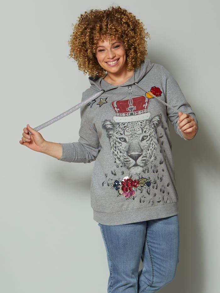 Angel of Style Sweatshirt mit modischem Leopardendruck, Grau