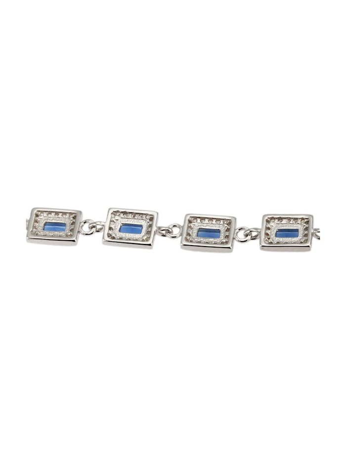 Damenarmband 925 Silber mit blauen Zirkonia