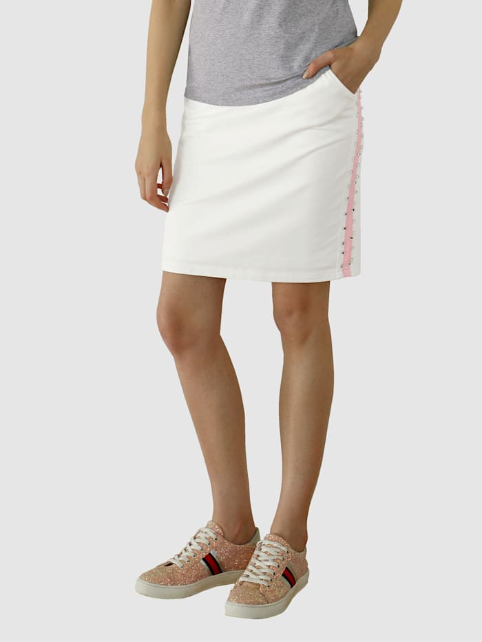 AMY VERMONT Sweatrock mit Zierband und Strasssteindekoration, Weiß
