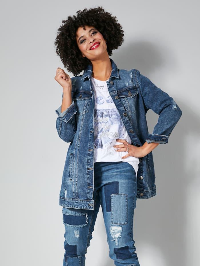 Jeansjacke oversized geschnitten