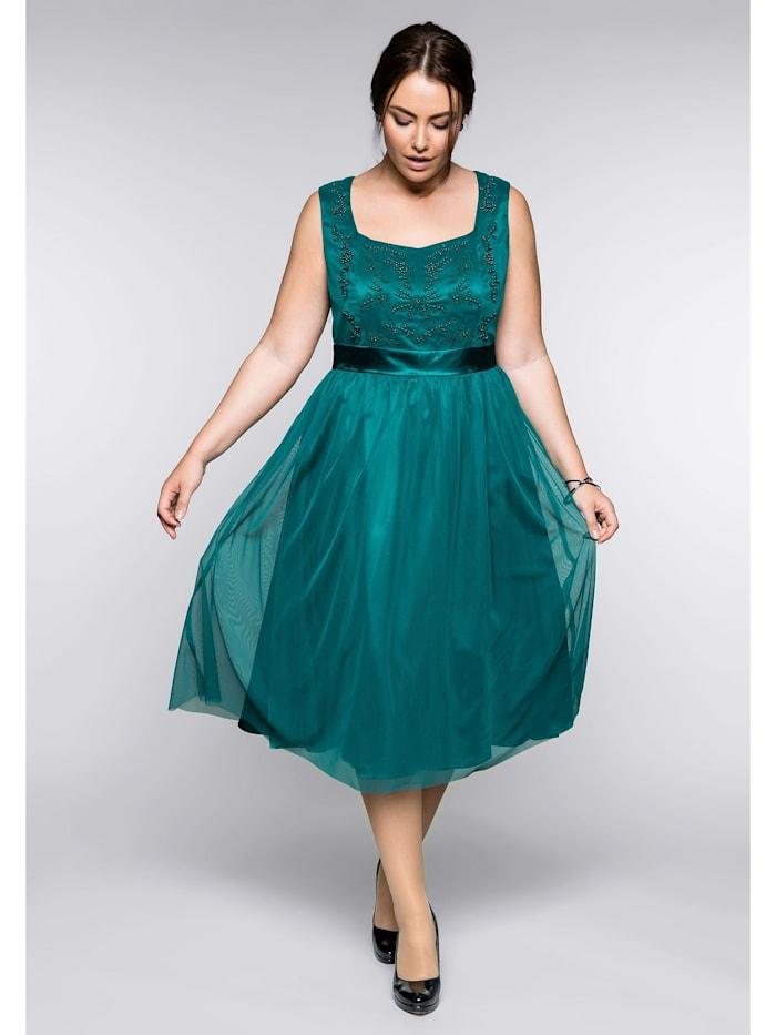 Sheego Abendkleid mit Stickerei, smaragd
