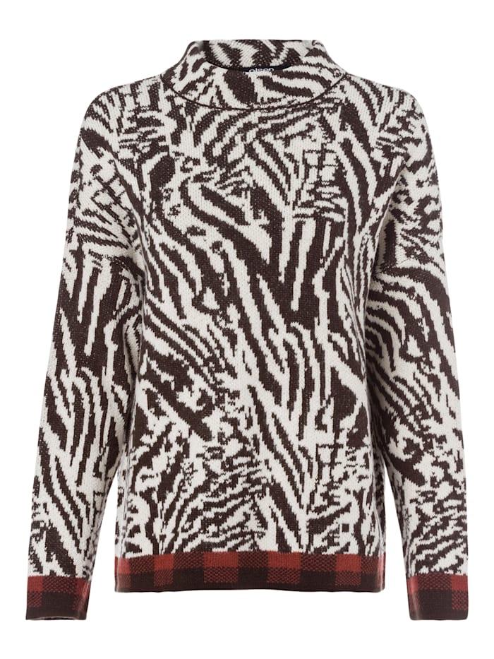 Olsen Stehkragenpullover im Zebra-Look, Dark Chocolate