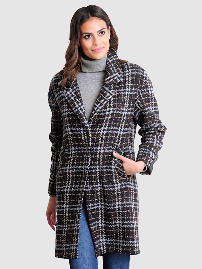 Alba Moda Manteau à carreaux tendance, Marron/Bleu