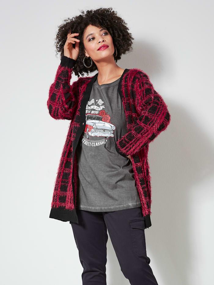 Angel of Style Vest van warm materiaal, Zwart/Rood