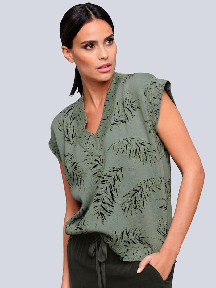 Alba Moda Tröja med mönster som är exklusivt för Alba Moda, Khaki/Svart