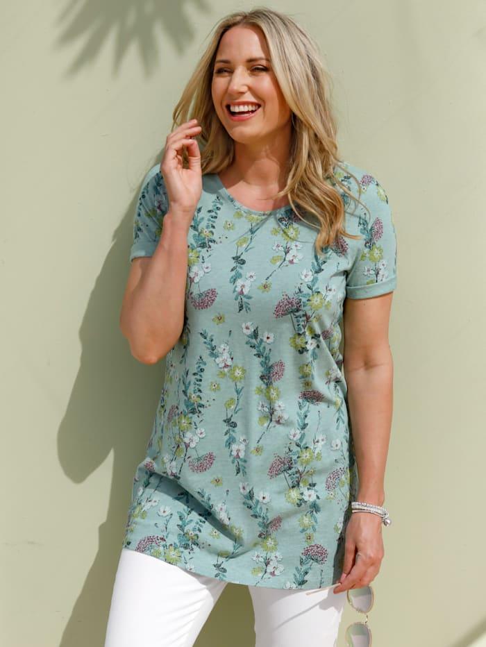 MIAMODA Longshirt mit floralem Alloverprint, Mintgrün