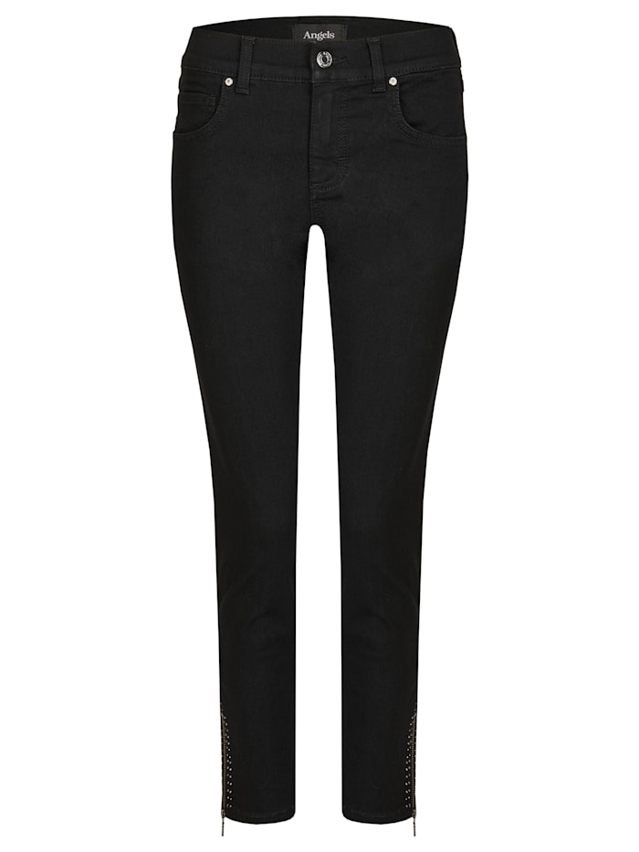 Angels Jeans ,Skinny Ankle Zip Shine' mit modischen Details, black