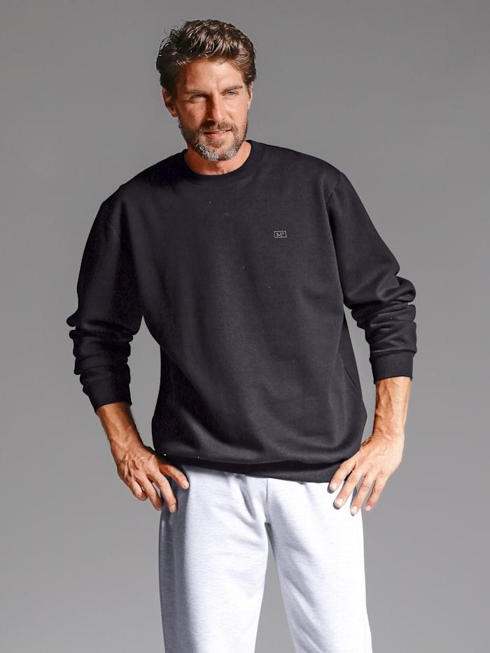 Men Plus Sweatshirt mit kleiner Stickerei, Schwarz