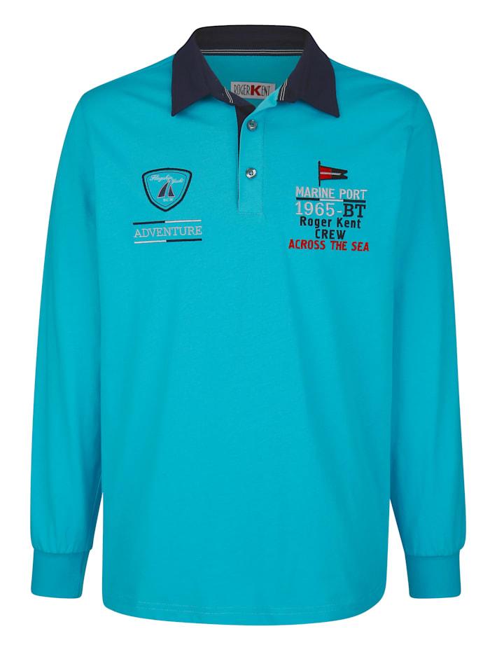 Roger Kent Poloshirt met contrastborduursel, Turquoise