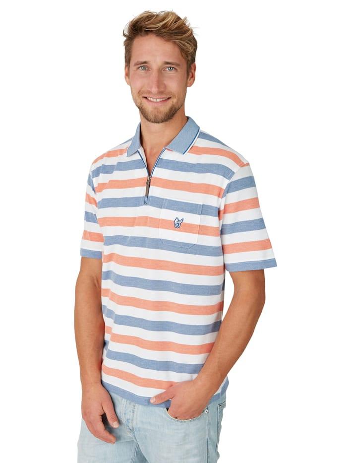 Hajo Strukturiertes Poloshirt mit Ringelmuster, weiß