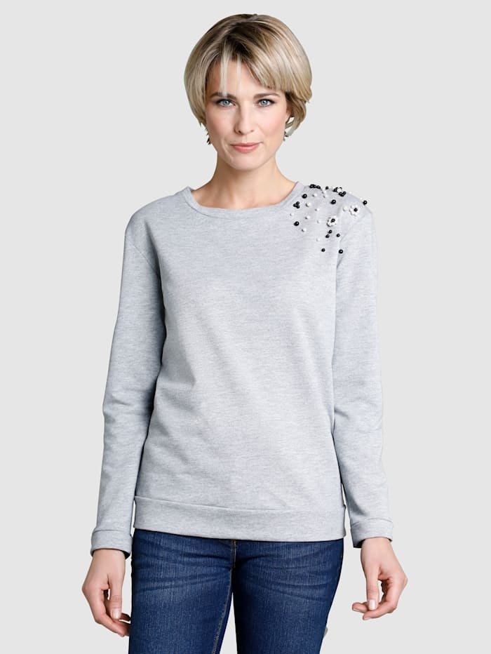 Dress In Sweatshirt mit Perlenverzierung, Grau