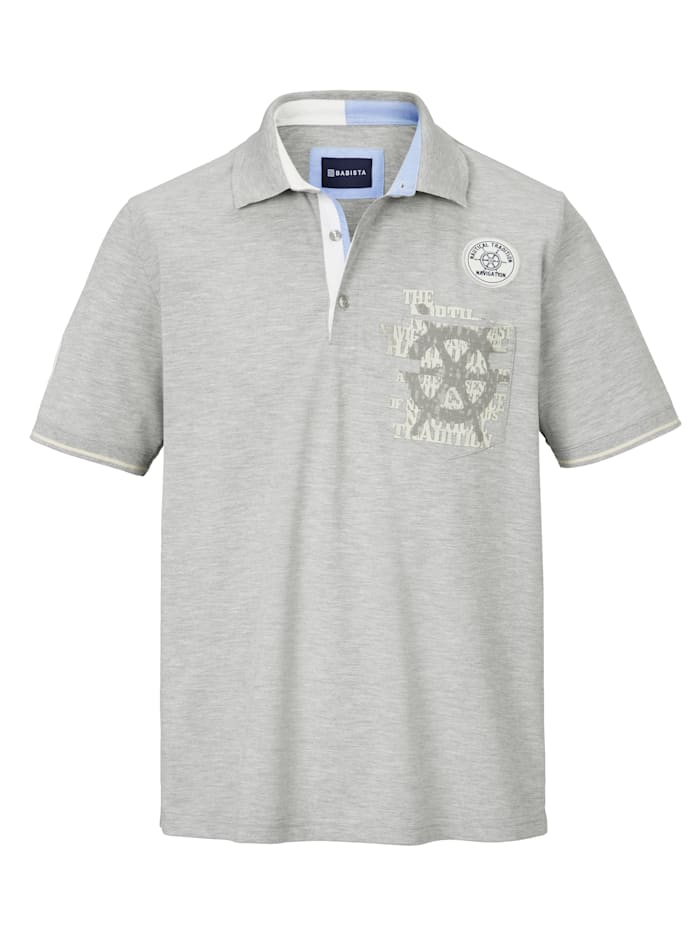 Poloshirt met patches en print
