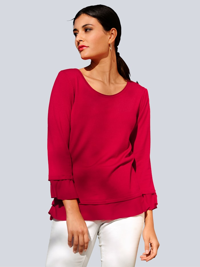 Alba Moda Pullover mit Chiffon, Rot
