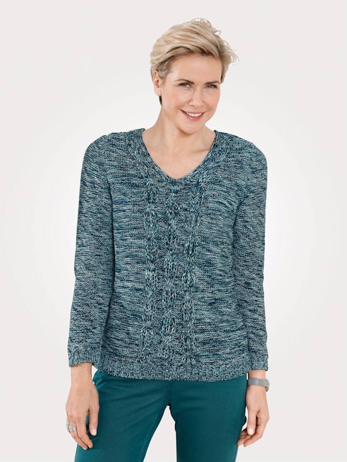 MONA Pullover mit Zopf-Strukturstrick, Mintgrün/Petrol