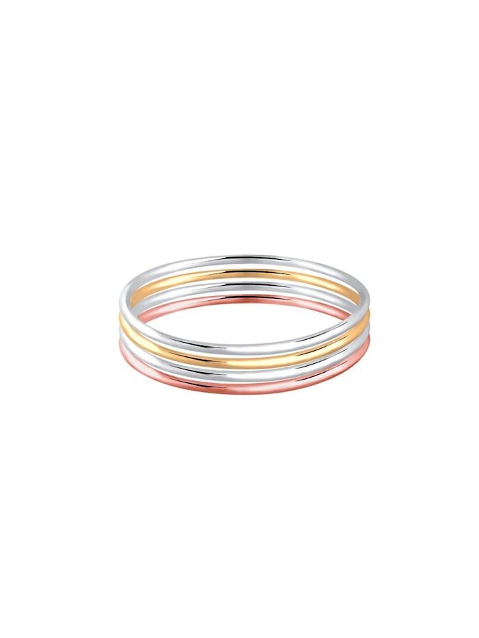 """Ring Ringset """"Stacking-Rings"""" Tricolor Silber Vergoldet"""