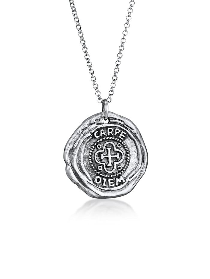 Kuzzoi Halskette Herren Antike Münze Rund Coin Kreuz 925 Silber, Schwarz