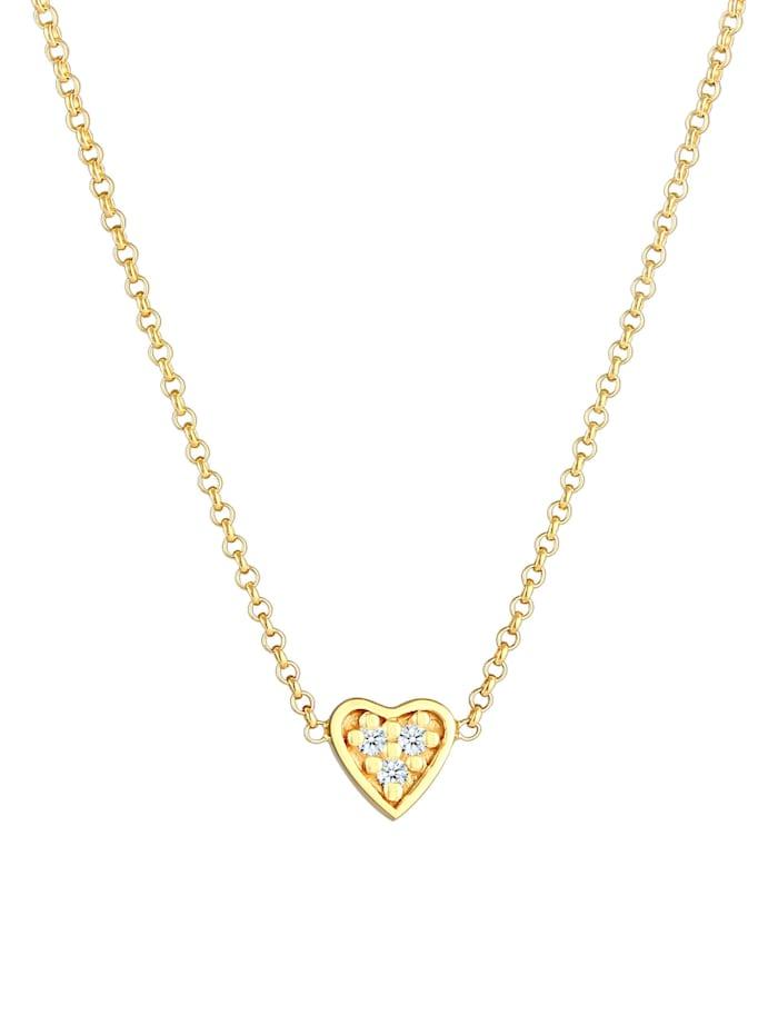 Halskette Herz Liebe Diamant (0.045 Ct.) 375 Gelbgold