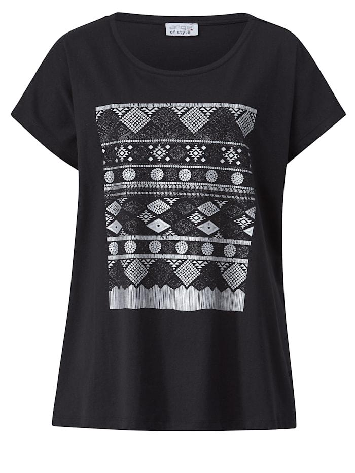 Shirt met zilverkleurige folieprint