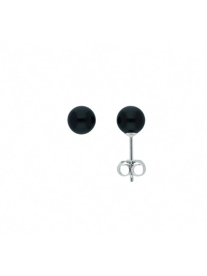 1001 Diamonds Damen Silberschmuck 925 Silber Ohrringe / Ohrstecker mit Onyx Ø 6,5 mm, silber