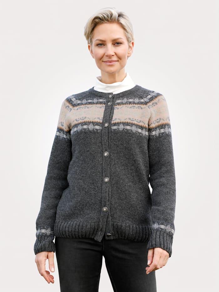 MONA Vest van zuivere lamswol, Antraciet/Ecru