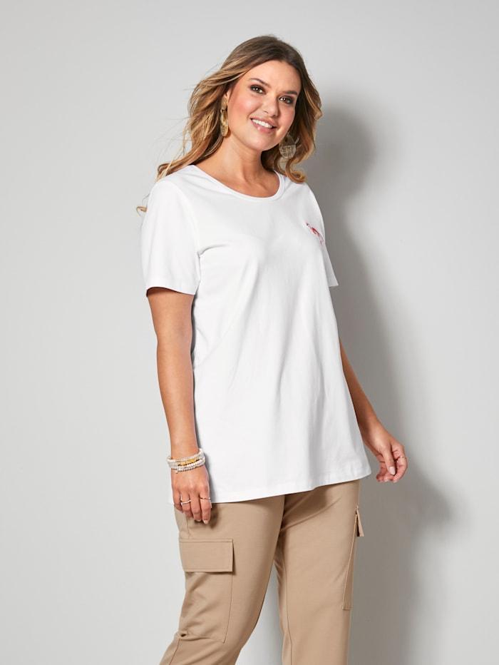 Janet & Joyce Shirt mit süßer Flamingo-Stickerei, Weiß