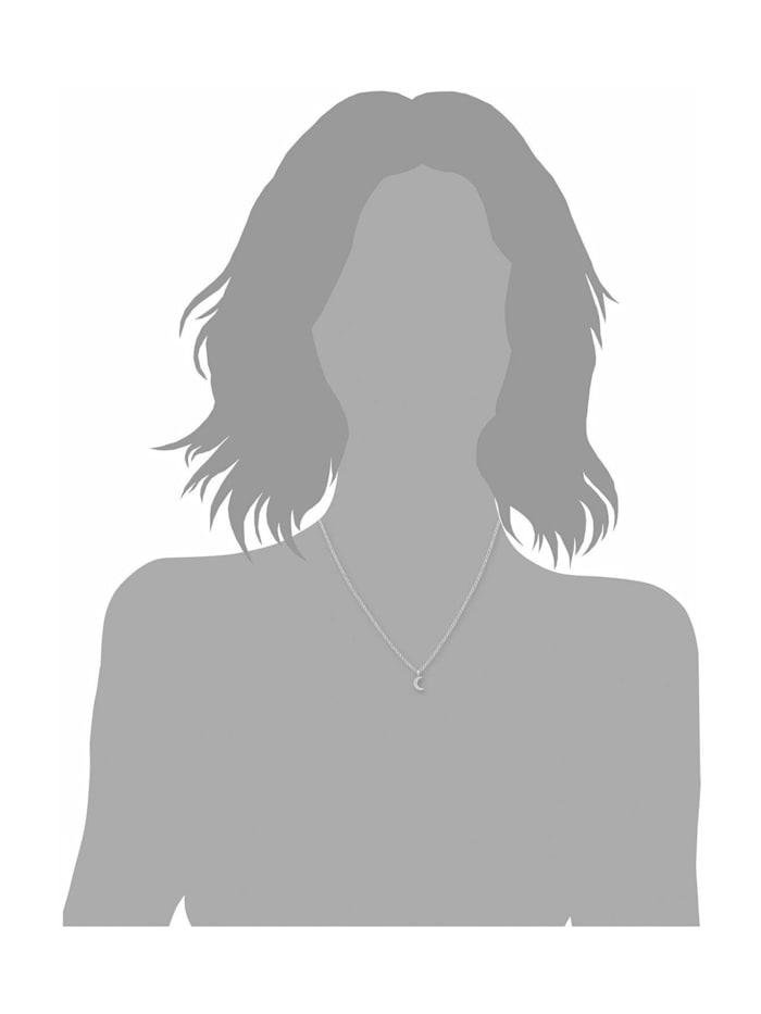 Kette mit Anhänger für Damen 42+3 cm mit Anhänger Mond Halbmond 925 Silber rhodiniert Zirkonia weiß