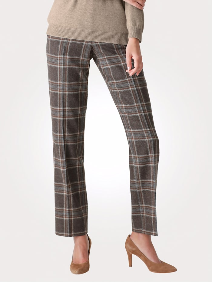 MONA Trousers with a check pattern, Brown/Beige