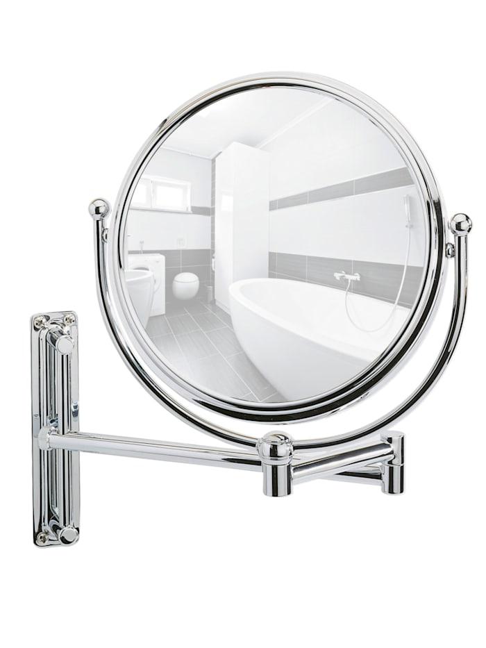 Wenko Kosmetikspiegel Deluxe Groß, Wandspiegel, 5-fach Vergrößerung, Chrom