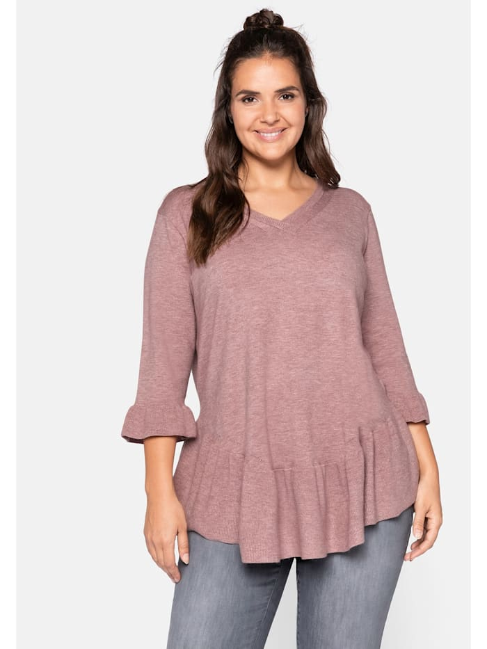 Sheego Sheego Pullover mit Volant, hellmauve
