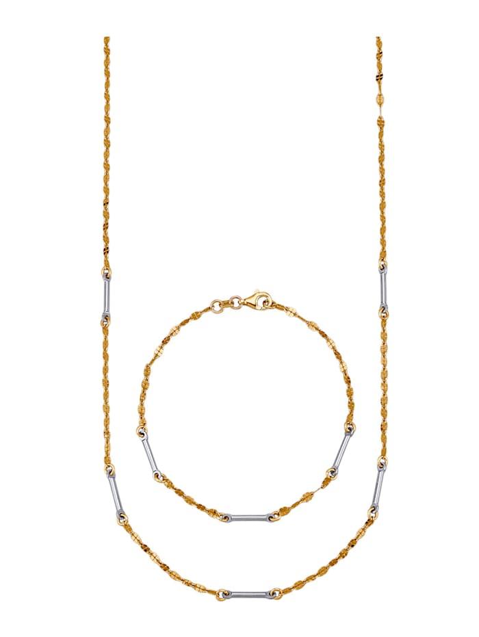 2-delige sieradenset van verguld zilver, Geelgoudkleur