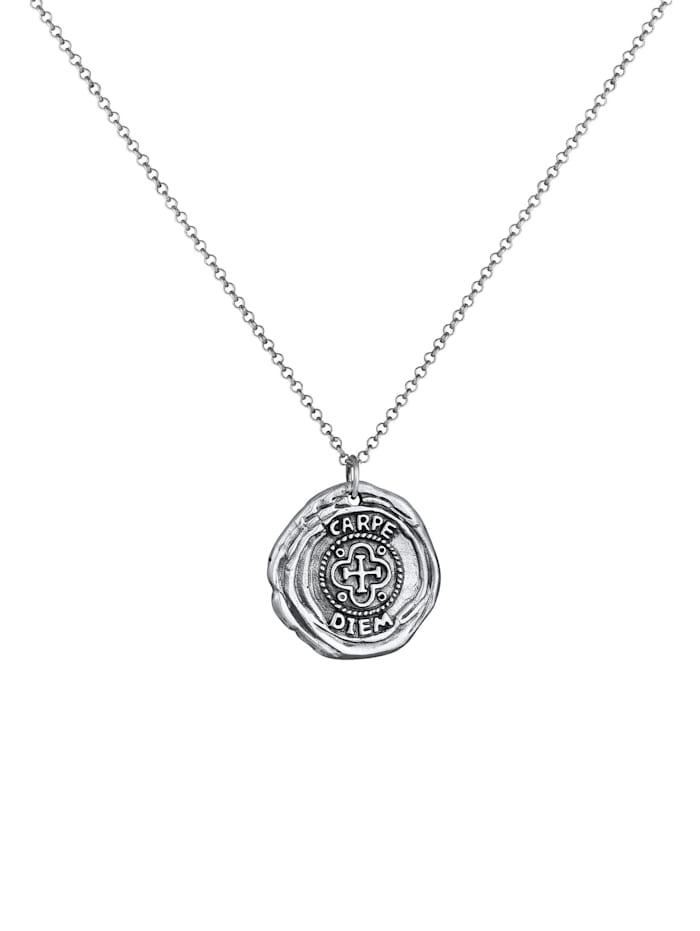 Halskette Herren Antike Münze Rund Coin Kreuz 925 Silber