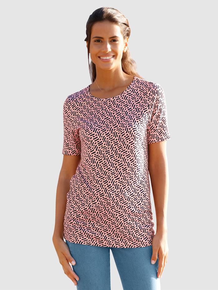 basically you Shirt mit Minimaldruck, Apricot/Marineblau