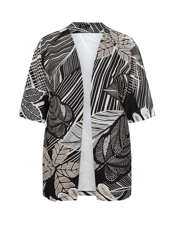 SPGWOMAN Kimono KIMONO LONDON Ton-in-Ton-Nähte, black