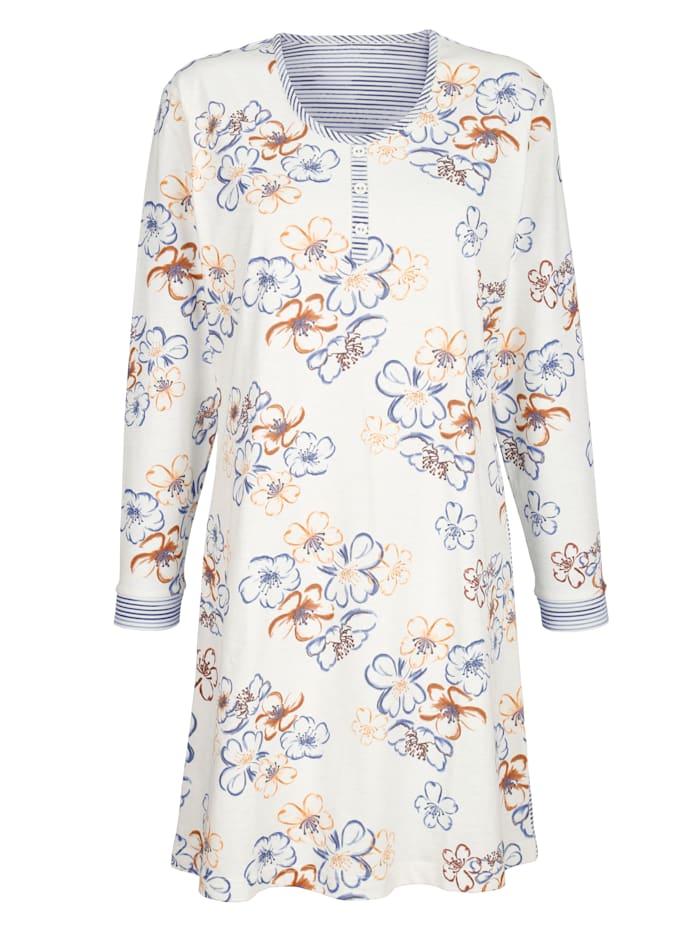 MONA Nachthemd mit geringeltem Rückenteil, Ecru/Marineblau/Terracotta