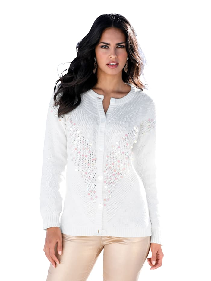 AMY VERMONT Strickjacke in verschiedenen Strickoptiken, Off-white