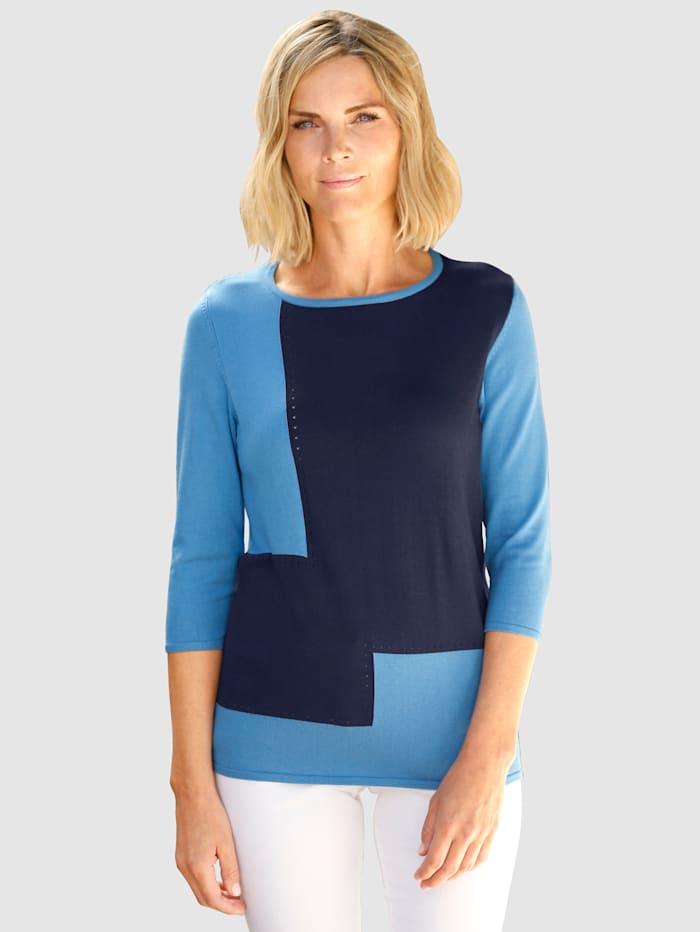 Paola Pullover mit Color Blocking Muster, Blau/Marineblau