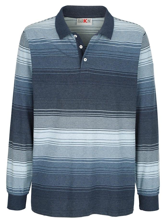 Roger Kent Polo à motif rayé tissé-teint, Bleu