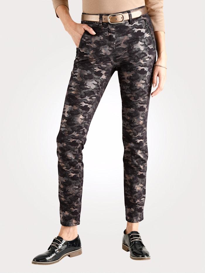 Pantalon à imprimé camouflage de grand effet