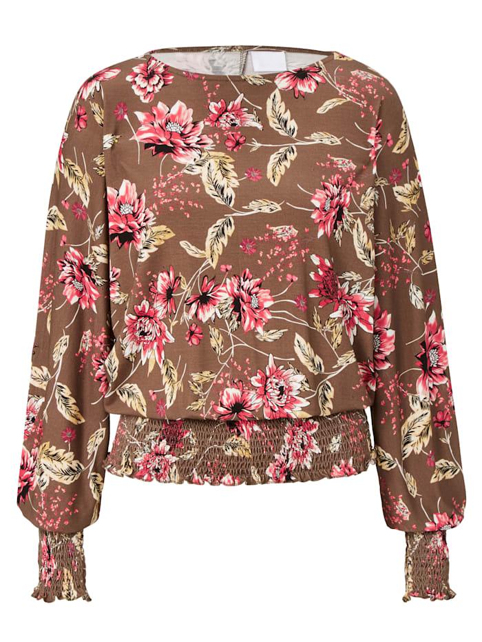 REKEN MAAR Shirt mit Blumendruck, Dunkelbraun