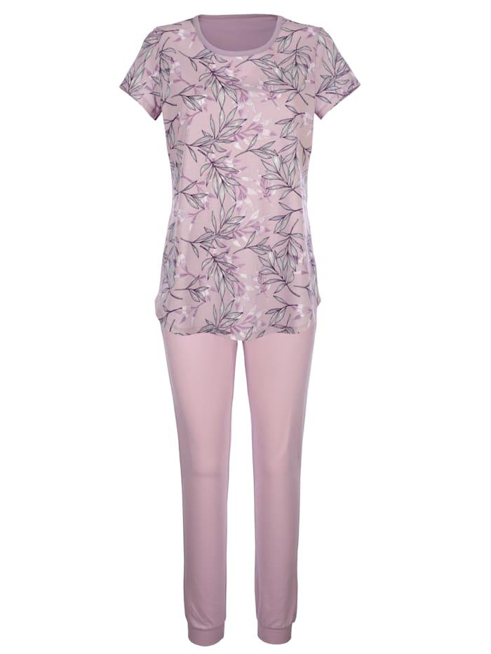 Blue Moon Schlafanzug mit modischem Druckdessin, Flieder/Ecru