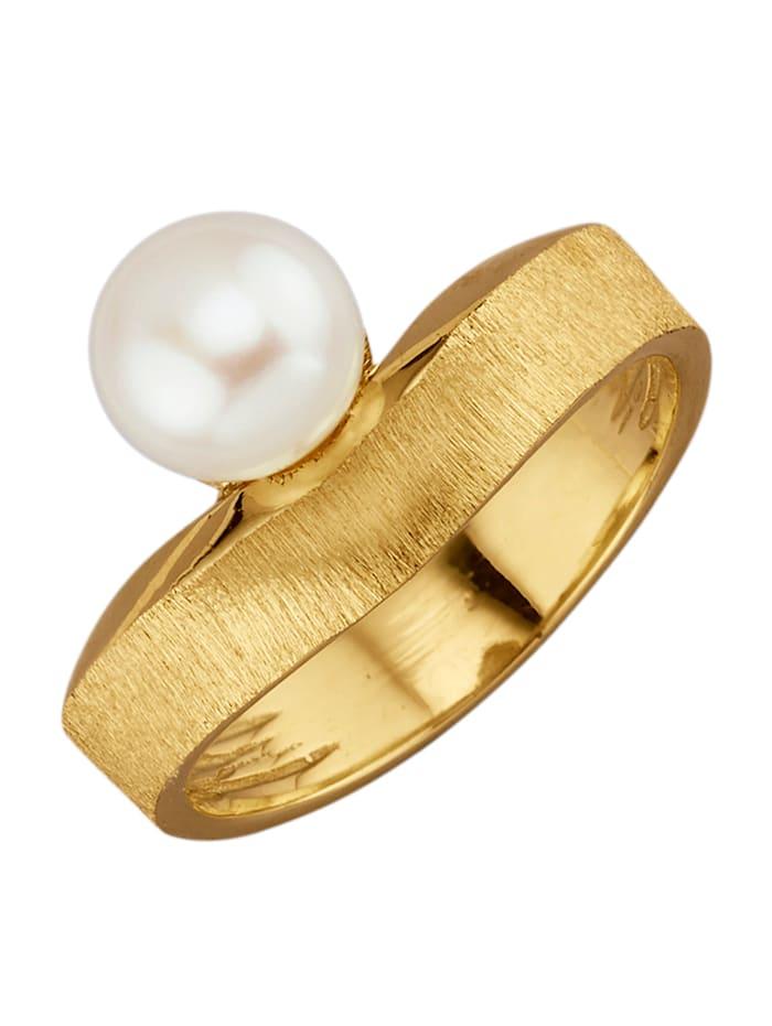 Diemer Perle Damenring mit weißer Süßwasser-Zuchtperle, Weiß