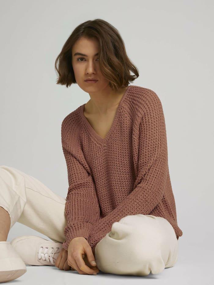 Tom Tailor Denim strukturierter Pullover, clay rose