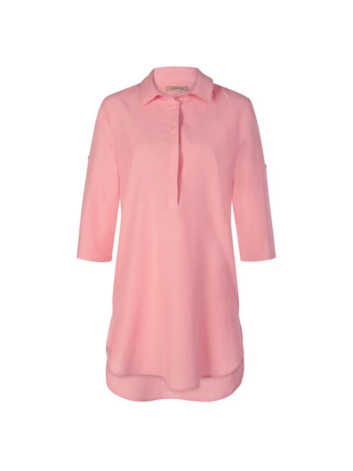 Blusenhemd in lässiger Longform mit Leinen