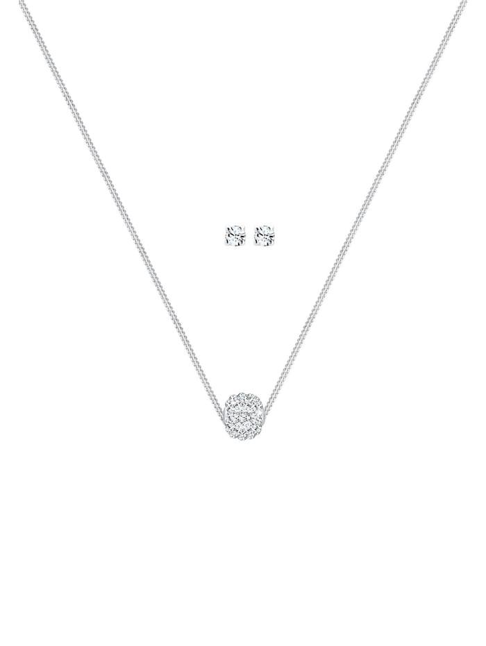 Schmuckset Collier Kugel Kristalle 925 Silber