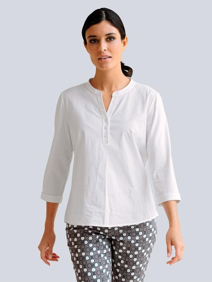 Alba Moda Shirt van een materialenmix, Wit