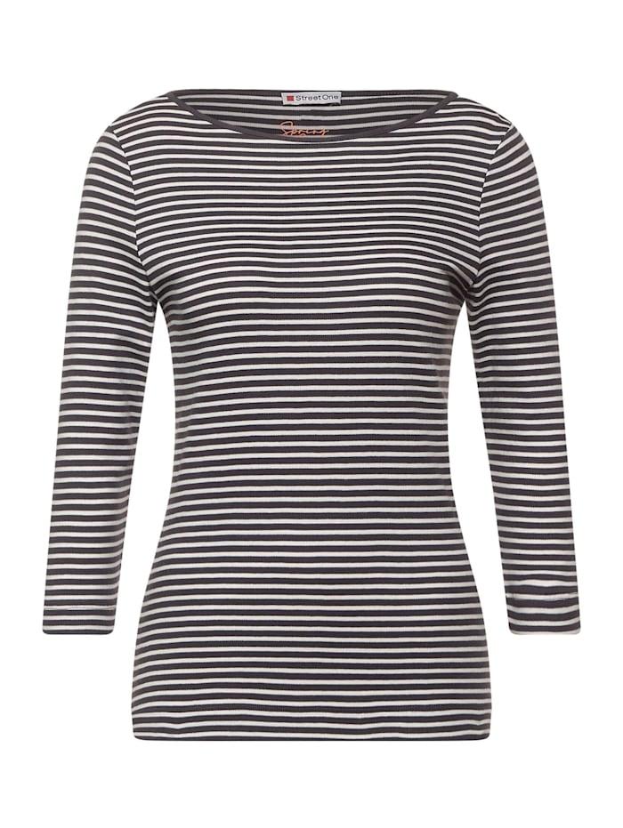 Street One Shirt mit Streifen, dark shaded grey